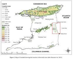 Map Of Trinidad Beach Morphological Dynamics At Cocos Bay Manzanilla Trinidad