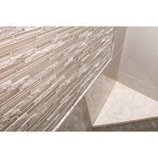 emser tile lucente 12 x 13 glass stone blend linear mosaic tile in