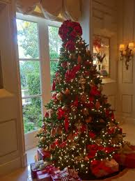the beverly hills mom red and gold beribboned christmas tree at