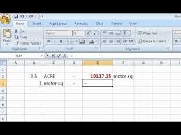 metre to square feet excel formula acre meter sq youtube