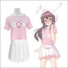 pink kawaii cartoon d va hoodie t shirt skirts se10158 shirt