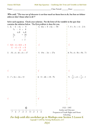 solving equations with variables on each side worksheet worksheets