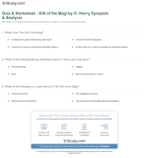 quiz worksheet gift of the magi by o henry synopsis