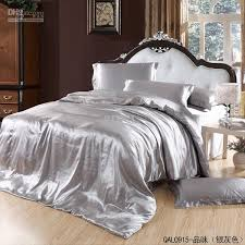 grey silver silk satin bedding set king size queen quilt duvet cover bed in a bag sheets bedsheet bedspread bedroom linen brand home texile solid duvet