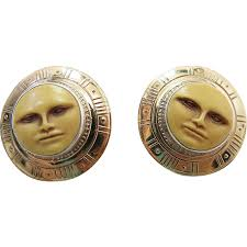 vintage tabra mixed metals moon face post earrings with sterling