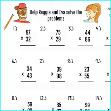 2pgs double digit multiplication worksheets and answer key 50