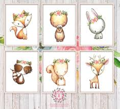Bunny Rabbit Home Decor 6 Deer Fox Bunny Rabbit Raccoon Bear Squirrel Woodland Boho