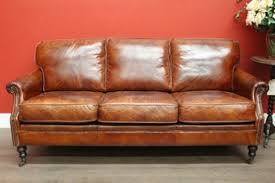 Antique Leather Sofas 5382 Vintage Brown Leather 3 Seat Lounge Sofa Chaise Brass