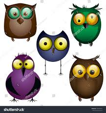 set owls different birds cartoon funny stock illustration