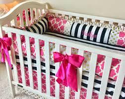 Black And Gold Crib Bedding Pink Crib Bedding Etsy