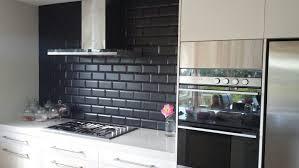 Glass Subway Tile Kitchen U Shape Brown Wood Cabinet Light Brown - Black glass subway tile backsplash