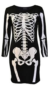 Halloween Skeleton Bodysuit Amazon Com Womens Skeleton Bones Halloween Dress Bodycon Party