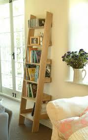 Ikea Ladder Bookshelf Classy Ladder Shelves With Unfinished Oak Ladder Bookcase Attached