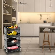 vegetable storage kitchen cabinets details about 4 tier fruit vegetable kitchen rack rattan plastic shelf rack basket for storage