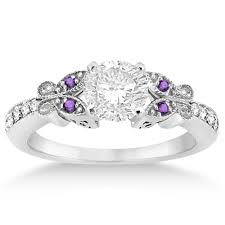 purple diamond engagement rings butterfly diamond amethyst engagement ring 14k white gold 0 20ct