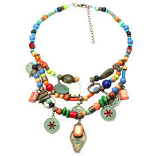 crystal necklace ebay images Gold necklace with stone pendant design of long font multicolor jpg