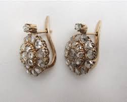 cheap diamond earrings era 18kt yellow gold cut diamond cluster earrings