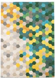 Yellow Lattice Rug Green Mix Kaleidoscope Rug From Modloft Made Of Natural Wool