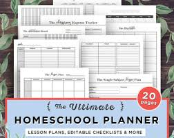 printable homeschool lesson plan template small business planner printable etsy business organizer