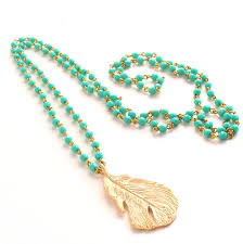 long bead chain necklace images Turquoise gold necklace st patricks day long boho rosary jpg