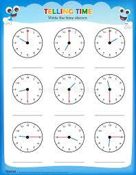 telling time worksheet stock illustration image 50725970