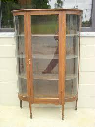 oak china hutch curio 4 shelf cabinet antique curved glass