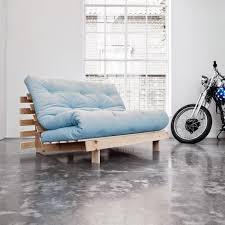 futon canapé canapé convertible style scandinave roots futon bleu celeste