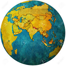 Nepal World Map Isolated Over White Territory Of Nepal With Flag On Globe Map