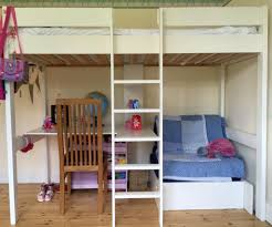 Bunk Bed Systems With Desk Custom White Wooden Bunk Bed With Sectional Desk And Futon Of