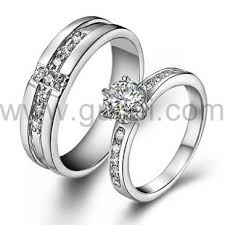 silver wedding rings images Personalized sterling silver diamond couples wedding ring for 2 jpg