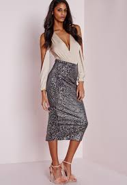 sequin skirt longline velvet sequin midi skirt grey missguided