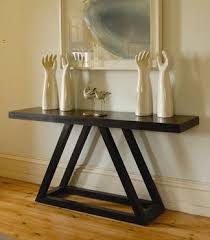 Triangle Accent Table Triangle Console Table In Dark Stained Oak Finish Mecox Gardens