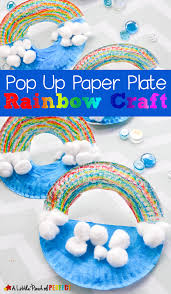 pop up paper plate rainbow craft for kids