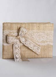 Wedding Sign In Book Burlap Wedding Guest Book With Lace