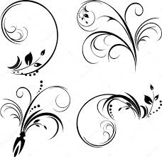 set of ornaments black isolated on the white stock vector