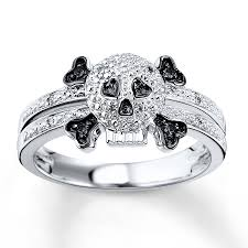 skull wedding rings black white diamond skull 1 15 ct tw ring sterling silver