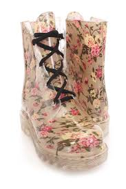 floral print lace up rubber jelly boots boots catalog women u0027s