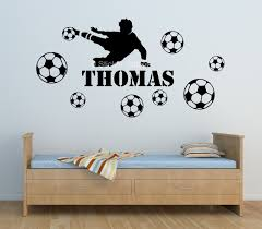 football player boys personalised wall art sticker sticker station