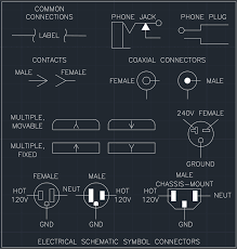 electrical schematic symbol connectors free cad block and