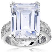 platinum sterling rings images Platinum plated 925 sterling silver clear emerald cut jpg