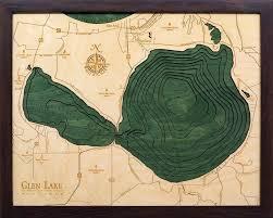 Lake Winnebago Map Custom Wood Charts Of Glen Lake From Carved Lake Art Nautical