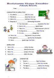 esl kids worksheets comparative u0026 superlative