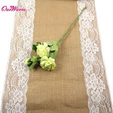 10pcs jute burlap lace hessian table runner 30cm x 275cm vintage