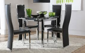 Glass Dining Sets 4 Chairs Black Glass Extending Dining Table 4 Chairs Photogiraffe Me