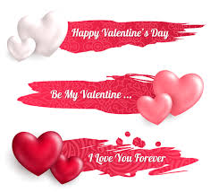 happy valentines day banner valentines day banners with heart vector 01 vector banner free