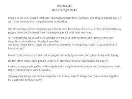 Paragraph About Thanksgiving Practice 1 Body Paragraph 1 Ppt Video Online Download