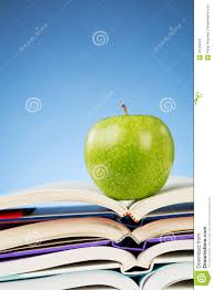 education concept an apple and books royalty free stock images