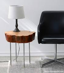wood slice side table live edge tree slice side table with legs made of l pipe diy