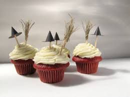 halloween cupcake toppers witch hats and brooms cupcake