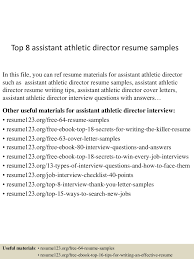 sample athletic resume top8assistantathleticdirectorresumesamples 150511082418 lva1 app6891 thumbnail 4 jpg cb 1431332706